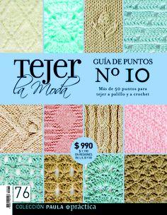Guía de puntos nº10. Revista 76. Knitting Charts, Knitting Stitches, Knitting Patterns, Crochet Patterns, Crochet Book Cover, Crochet Books, Knit Crochet, Crotchet Stitches, Crochet Magazine
