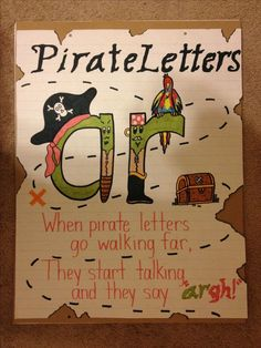 Bossy R/R-Controlled Vowels/Pirate Letters Anchor Chart by Alexandra DePaolo Ela Anchor Charts, Kindergarten Anchor Charts, Reading Anchor Charts, Kindergarten Literacy, Preschool, First Grade Phonics, First Grade Reading, First Grade Classroom, Teaching Phonics