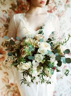 folky bouquet of greens