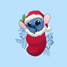 """""""Stocking Stuffers: Stitchy"""" by DoOomcat An alien in a stocking. Inspired by Lilo & Stitch Lilo Ve Stitch, Stitch Disney, Lilo And Stitch Quotes, Christmas Phone Wallpaper, Xmas Wallpaper, Disney Phone Wallpaper, Disney Kunst, Arte Disney, Disney Art"""