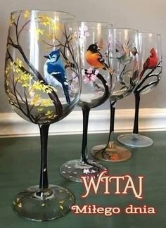 BlueJay Wine Glass Hand Painted Collectible Stylish Bird Spring Glassware Flowering Tree Branches Unique Mother's Day Gift Idea Easter Art – Artsupplies Decorated Wine Glasses, White Wine Glasses, Unique Mothers Day Gifts, Easter Art, Wine Glass Set, Bird Design, Flowering Trees, Glass Art, Hand Painted