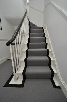 Grey stair runner with black binding tape by Bowloom Ltd.     www.bowloom.co.uk  www.offtheloom.co.uk