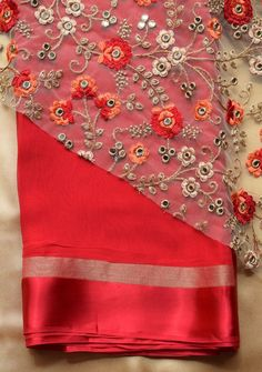 Red saree with embroidered blouse piece – Rang Mohe