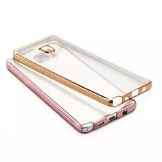 Galaxy S7 Edge - Glossy Clear in Rose Gold or Gold Border Soft Back Case