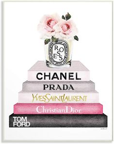 Stupell-Buch-Stapel-Mode-Kerze-Rosa-Rose durch Amanda Greenwood – Wood Design Stupell Book Stack Fashion Candle Pink Rose by Amanda Greenwood Stupell-Buch-Stapel-Mode-Kerze-Rosa-Rose durch Amanda Greenwood – Wood Design Art Chanel, Chanel Wall Art, Chanel Room, Chanel Print, Chanel Decoration, Books Decor, Arte Marilyn Monroe, Bougie Rose, Mode Poster