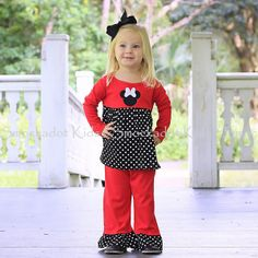 10/30/12  Red & Black Polkadot Mouse Knit Pants Set