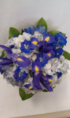 Naturally blue flowers form this bouquet