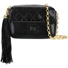 Chanel Vintage Quilted Shoulder Bag ($3,676) ❤ liked on Polyvore featuring bags, handbags, shoulder bags, black, tassel purse, vintage purses, lambskin handbag, chanel and quilted handbags