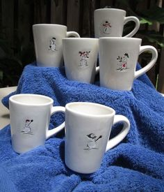 Set of 6 Williams-Sonoma Snowman Holiday Christmas Xmas mugs cups Sweet Snowmen
