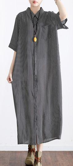 dark gray striped linen dresses plus size casual silk sundress