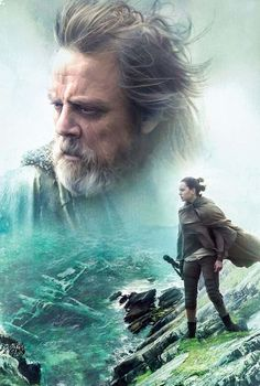 This unique and cool Star Wars the Last Jedi poster features Luke Skywalker and Rey of Jakku on Ach-to. I love the green colors. This is perfect for a Star Wars geek like me. Luke Skywalker, Star Wars Holonet, Star Wars Fan Art, Star Trek 2009, Poster Xxl, Star Wars Poster, Star Wars Models, Kino Film, Star Wars Wallpaper