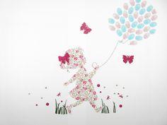 Appliqués thermocollants Arbre à empreintes (Baptême, communion) petite fille qui court en liberty Eloïse rose et flex pailletés. : Tissus par il-etait-une-fois-le-liberty