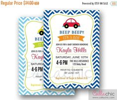 Car Baby Shower Invitation PRINTABLE - Boy - 1st Birthday Invite - Chevron Blue Red Orange Green