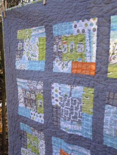 Backyard Baby Crib Boy Quilt Grey Orange Blue Green