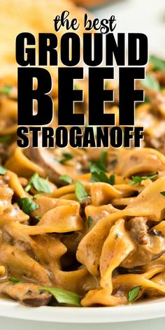 This simple, comforting ground beef stroganoff is a hearty, classic recipe that our family loves. With flavorful, lean ground beef and a creamy sauce served over tender egg noodles, this mouthwatering Healthy Ground Beef, Healthy Beef Recipes, Ground Beef Recipes For Dinner, Dinner With Ground Beef, Best Ground Beef Recipes, Ground Beef Crockpot Meals, Recepies With Ground Beef, Meals To Make With Ground Beef, Healthy Meals