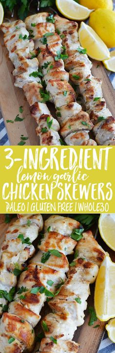 Three-Ingredient Lemon Garlic Chicken Skewers from @whattheforkblog. These skewers are paleo, Whole30, easy, and are perfect meal-prep. | recipe on whattheforkfoodblog.com | Sponsored by @tessemaes09