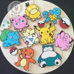Pokemon Cookies by on Etsy Pokemon Birthday, Pokemon Party, Easy Pokemon, 6th Birthday Parties, 9th Birthday, Royal Icing Cookies, Sugar Cookies, Cake Cookies, Shopkins Cookies