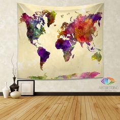 World map watercolor wall Tapestry, Grunge world map wall tapestry,Hippie tapestry wall hanging, bohemian wall tapestries, Modern watercolor map tapestries, Watercolor grunge bohemian decor