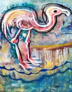 """Flamingo"" original paintings and art by artist Ally Burguieres, 736 Royal Street, New Orleans, Louisiana, Gallery Burguieres at www.GalleryBurguieres.com"