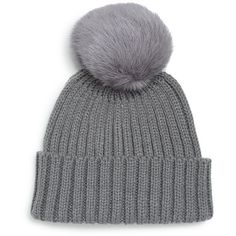 Adrienne Landau Rib-Knit Rabbit Fur Pom-Pom Hat ($50) ❤ liked on Polyvore featuring accessories, hats, adrienne landau, cold weather hats, pompom hat, rabbit hat and rabbit fur pom pom hat