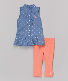 Look what I found on #zulily! Blue Polka Dot Top & Peach Leggings - Toddler & Girls by U.S. Polo Assn. #zulilyfinds