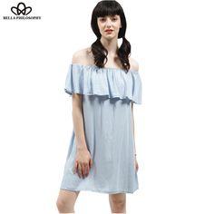 summer new cute Lotus Leaf ruffels necked light blue off shoulder denim casual dress real dress