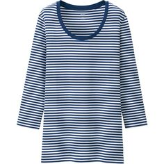 UNIQLO Women Supima Cotton Striped Crewneck 3/4 Sleeve T-Shirt ($15) ❤ liked on Polyvore featuring tops, t-shirts, cotton tee, 3/4 sleeve t shirts, blue cotton t shirts, striped t shirt and stripe t shirt