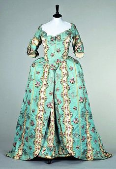 A striped and brocaded silk open robe, 1770s