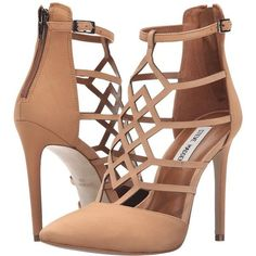 Steve Madden Sonillo (Tan Nubuck) High Heels ($130) ❤ liked on Polyvore featuring shoes, pumps, high heel pumps, buckle shoes, caged pumps, pointed-toe pumps and ankle strap pumps
