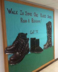 #read a biography #biography, walk in some one else's shoes,#elementary library display,#library bulletin board ideas, big shoes to fill! These eye catching shoes are very oversized, they came from a display at a shoe store near my home, they were posters they were getting rid of so, I re-purposed them as this bulletin board display. Cool Bulletin Boards, Reading Bulletin Boards, Bulletin Board Display, School Library Displays, Middle School Libraries, Elementary School Library, Librarian Style, Teacher Librarian, Library Boards