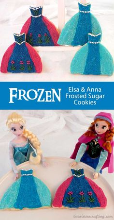 Our Elsa & Anna Frosted Sugar Cookies are made with our delicious sugar cookies and buttercream frosting and are the perfect treat for a Frozen Birthday Party. These lovely cookie representations of Elsa & Anna's iconic dresses will be a hit at your Frozen Party and we have all the directions you will need to make them yourself.  Follow us for more fun Frozen Party Ideas.