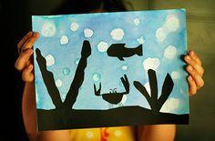 Underwater silhouette art project for kids Painting Crafts For Kids, Art For Kids, Cool Art Projects, Project Ideas, Kid Projects, Ocean Theme Crafts, Bubble Drawing, Silhouette Painting, Silhouette Images