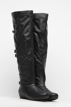 Bamboo Black Leatherette Buckle Knee High Boots