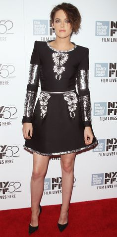 Kristen Stewart smoldered at the Clouds of Sils Maria screening in a cool silver leather-embroidered black Chanel Couture design that she paired with black Louboutin pumps - Look of the Day - October 2014 - Kristen Stewart in Chanel Couture from Chanel Couture, Celebrity Look, Celebrity Dresses, Star Fashion, High Fashion, Women's Fashion, Kirsten Stewart Style, Sils Maria, Hollywood