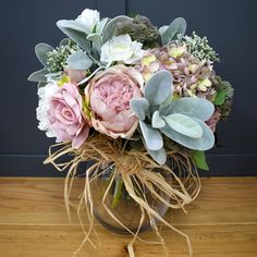 Artificial Flower Arrangement with Hydrangea and Roses
