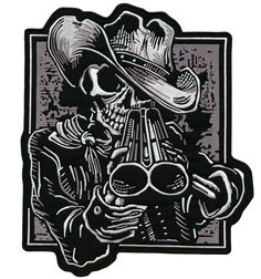 Cowboy Skeleton With Shotgun Embroidered Biker Patch – Quality Biker Patches This grim reaper is wearing a cowboy hat and looking down his double barrel at you on this skull patch. Biker Tattoos, Skull Tattoos, Cowboy Tattoos, Skeleton Tattoos, Shotgun Tattoo, Western Saloon, Skeleton Drawings, Totenkopf Tattoos, Desenho Tattoo