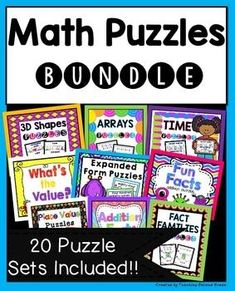 Huge Math Puzzles Bundle - Use this set of 20 different math puzzles with your 1st, 2nd, or 3rd grade classroom and home school students. You get puzzles for 3D shapes, addition, doubles, arrays, time, expanded form, fact families, subtraction, missing addends, 10 more and 10 less, and MORE! These are great for early or fast finishers, math centers or stations, review, games, seat work, morning work, and more. Grab yours now! {first, second, third graders - over 50% off!!}