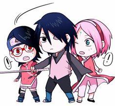 Sasuke, sarada, and sakura