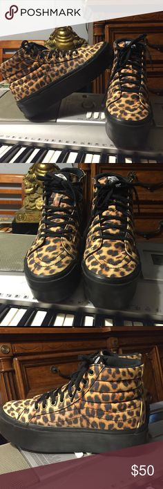 Vans SK8-Hi Platform in Leopard RARE Vans Classic Shoe, the SK8-Hi with an awesome edgy & feminine twist; PLATFORMS as seen on Hayley Williams of Paramore, these shoes are awesome and really hard to find.  They have only been worn maybe 5 times tops,  they're basically in excellent/new condition!  They're size 4 in Mens, or Womens size 6. Vans Shoes Sneakers