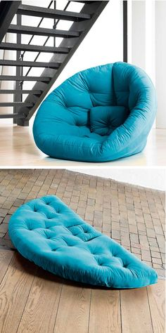 Nido Transformer Lounger - Can be used as a bed or zip into a lounge chair. Great for movie nights or overnight guests. Seems like great kids/basement/res room overflow seating. Diy Furniture, Furniture Design, Bean Bag Chair, Diy Home Decor, Decor Room, Upholstery, Cushions, Big Pillows, Lounge