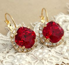 Red Ruby hook earrings  Crystal  14 k plated gold by iloniti, $49.00