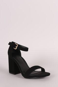 Nubuck Chunky Block Heel Sandal