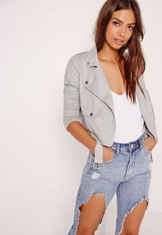Our love for luxe looking fabrics has reached new levels this season and this faux suede biker jacket is ticking all our boxes! In a light grey faux suede, this soft touch biker jacket is the ultimate transitional piece. With exposed zip fi...
