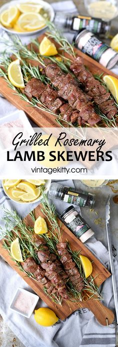 Bite into bright, succulent Grilled Rosemary Lamb Skewers that are fork-tender and delicious. | Vintage Kitty