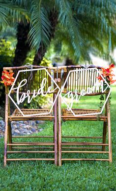 Geometric chair signs for the bride and groom | Tropical or Boho Chic - Ultimate wedding decor ideas and DIY items - www.ZCreateDesign.com