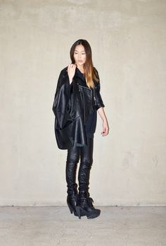 Jayne Min of Stop It Right Now in our classic leather leggings.