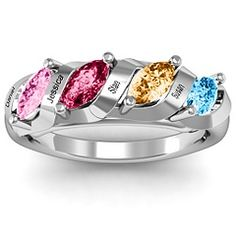 Quad Birthstone Marquise Mothers Ring