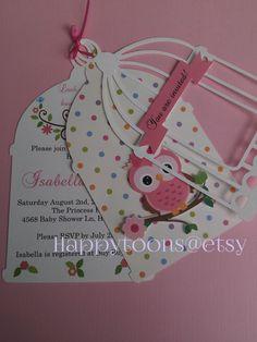 Beautiful babyshower Owl invitations by HappyToons on Etsy