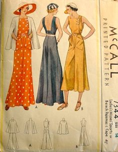 Charlene - 1930s  Pre Depression Era Vintage Style one piece Beach Pajamas - ALL SIZES - Custom Made