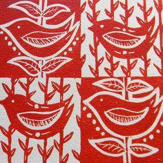 Four Birds Red -Lino Print by Mangle Prints, via Flickr